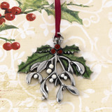 Mistletoe and Holly Pewter Annual Ornament