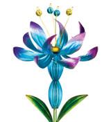 Flower Spinner Solar Stake - Blue