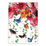 Kitchen towel with multi-colored flowers and butterflies