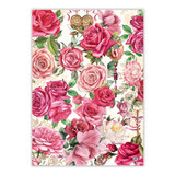 Dish towel with pink roses