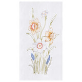 Embroidered flour sack kitchen towel with colorful daffodil motif