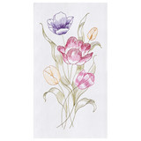 Embroidered flour sack kitchen towel with many colored tulips