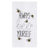 "White flour sack kitchen towel with ""Always bee yourself"" insignia with bees"