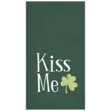 "Green flour sack kitchen towel, with ""Kiss Me"" insignia with a shamrock"