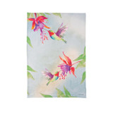 Flour sack kitchen towel, red hummingbird with watercolor splash