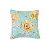 Light blue and yellow sunflower garden pillow