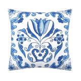 Blue and white delft garden pillow, flower print