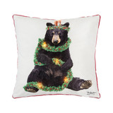Christmas LED light up pillow, yuletide black bear