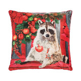 Christmas LED light up pillow with raccoon on a bench and cardinal