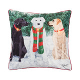 Printed LED light up pillow, 2 labs and a snowman
