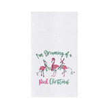 """Christmas kitchen towel embellished with flamingos, """"I'm dreaming of a pink Christmas."""""""