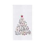 Christmas dish towel with dog faces shaped into a tree