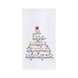 Christmas dish towel with cat faces shaped into a tree