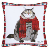 Pillow with fat cat wearing a scarf pattern