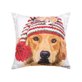 Pillow with dog wearing a winter hat pattern