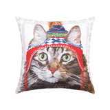 Pillow with cat pattern wearing a winter hat