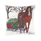 Christmas pillow with horse and sleigh