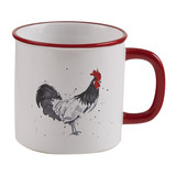 Ceramic coffee mug with rooster, red trim on white mug
