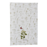 Cotton dishtowel, printed feverfew