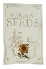 Embroidered cotton dishtowel, Garden Seeds motif