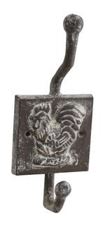 Rooster cast hook, whitewash metal