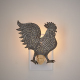 Punched tin rooster night light