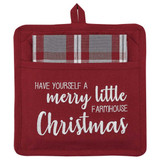 Christmas Potholder and coordinating dish towel, have yourself a merry little farmhouse Christmas insignia