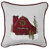 Christmas barn embroidered pillow, made of 100% cotton