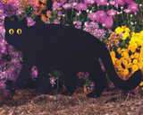 Garden Guard Prowling black cat, put in your garden, in a tree or attach to fence.  Wood base and ground rod included