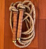 Jump Rope for kids, repurposed wood bobbin handles with jute rope, Made in Maine