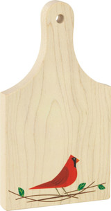 9 inch maple cutting board, Cardinal print on bottom front of board