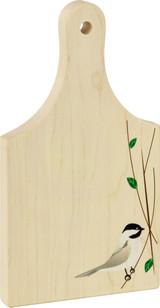 9 inch maple cutting board with Chickadee print in bottom corner