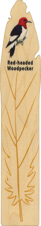 Maple Wood Bookmark, Made in Vermont, Red Head Woodpecker