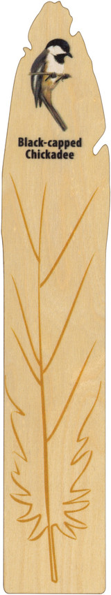 Maple Wood bookmark, made in Vermont, Black Capped Chickadee