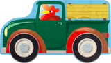 13 piece jigsaw puzzle, large interlocking pieces, recommended for kids over 3 years old, Vintage farm truck with a rooster driving