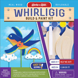 Build and paint kit Whirligig, kids over 5 years old, whirling bird on stick with 2 garden stakes for kids garden
