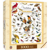 Audubon Society 1000 piece jigsaw puzzle, Songbirds, pictures with name of bird.