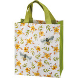 Reusable tote/grocery bag with bees and flower design.