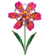 Ribbon Flower Spinner Stake - Pink