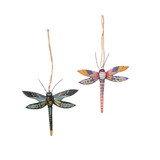 Wooden Dragonfly Christmas ornaments set of 2