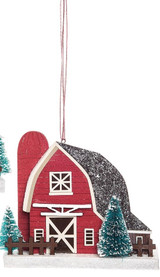 Red Barn Christmas Ornament With Silo