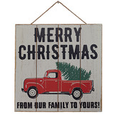Merry Christmas Truck Wooden Sign