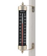 """Grand View High Contrast Black 12"""" Thermometer (Satin Nickel)"""