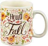 "Front view of ""Hello Fall"" coffee mug"