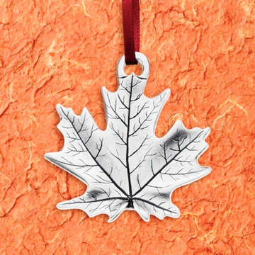 Maple Leaf Pewter Ornament