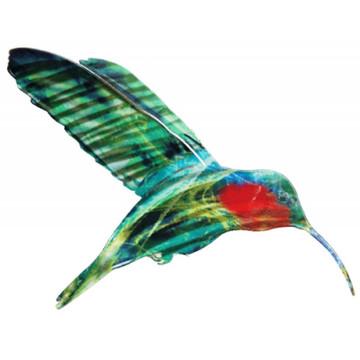 Color Infused Metal Garden Stake - Hummingbird