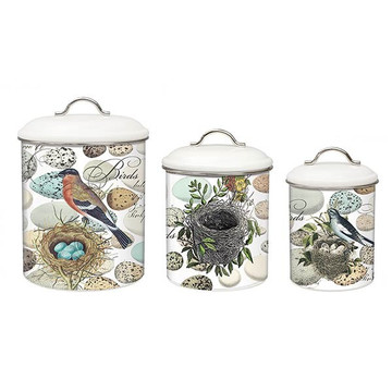 Nest and Eggs Metal Canister Set