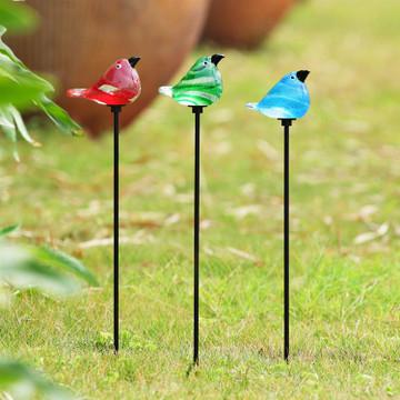 Art Glass Bird Garden Stakes