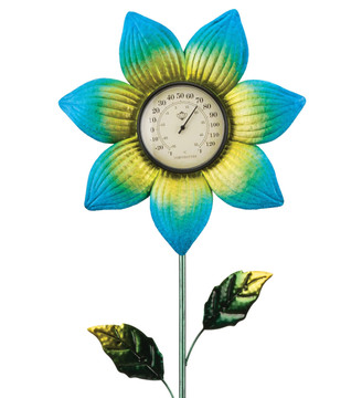 Thermometer Stake - Blue Flower