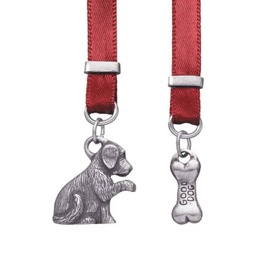 Dog and Bone Pewter and Ribbon Bookmark